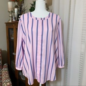 Ann Taylor Pink and Blue Striped Blouse XL